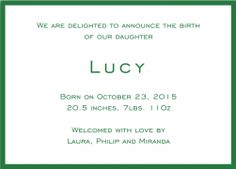 Browse Birth Announcement card designs, customize and send online with recipient monitoring.