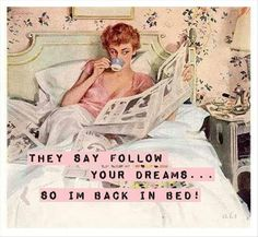 """Illustration for magazine advertisement. Pin-up gal reading in bed on soft sheets wearing her negligee. Ladies Home Journal, July By John Gannam. """"John Gannam was. Vintage Humor, Retro Humor, Vintage Ads, Vintage Images, Retro Funny, Funny Vintage, Vintage Clothing, Vintage Style, Image Basket"""
