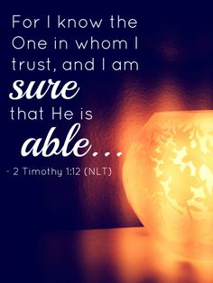 He is able - 2 Timothy Scripture quotes Bible Bible Verses Quotes, Bible Scriptures, Prayer Verses, Scripture Art, Faith Quotes, Wisdom Quotes, 5 Solas, Religion, 2 Timothy