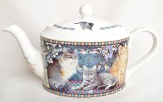 Lesley's Cats Teapot, Milk Jug and Sugar Bowl Teaset - Danbury Mint Tableware | eBay