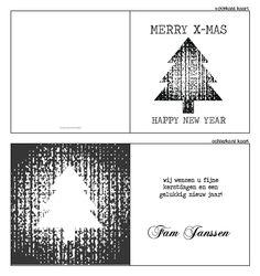 #kerstkaarten, #kerstkaartje, #Modern #kerst #kaart #christmas #ontwerpen #zelfontwerpen #kerstboom #zwart #wit #stempel #modern