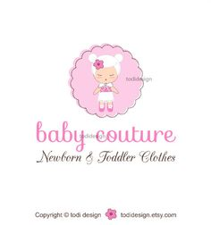 SALE Baby Couture - OOAK Character Illustrated Premade Logo design-Will not be resold