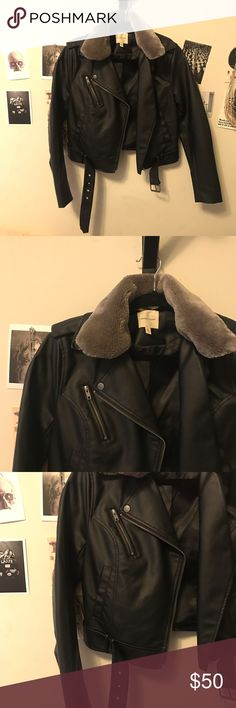 Faux Fur Moto Jacket Silence + Noise with removable faux fur collar. Never worn. Urban Outfitters Jackets & Coats Utility Jackets