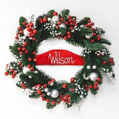 Thinking about Christmas... no way you say! But who can resist a gorgeous Christmas Wreath at 50% OFF!  Make your front door extra festive this Christmas with our Christmas Wreath. Features a beautiful velvet plaque that has your family name beautifully hand painted on it.  * Material: Plastic, resin * Dimensions: 45cmD * Velvet plaque  WAS $50 - NOW $25  Limited stock available, don't miss out!