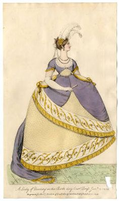 La Belle Assemblee, February 1808, A Lady of Quality in the Birth day Court Dress. January 18, 1808