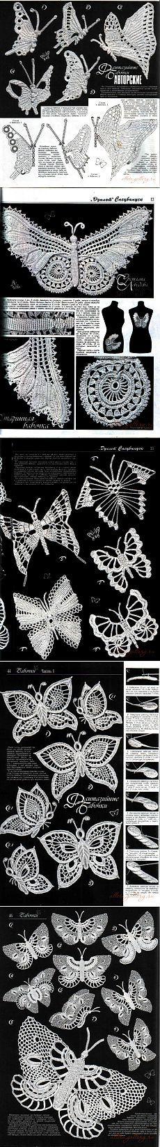 Sammlung gehäkelt Schmetterlinge.  Teil 1 ..