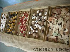 An idea on Tuesday: Alphabet Sorting with natural materials on the light table ≈ ≈ for more inspiring pins: http://pinterest.com/kinderooacademy/new-found-materials/