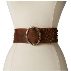 Leatherock 1208 (Kodiak Tobacco) Women's Belts ($145) ❤ liked on Polyvore featuring accessories, belts, wide leather belt, leatherock, leatherock belt, wide buckle belt and studded leather belt