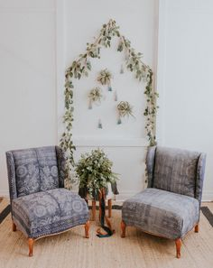 Vintage indigo lounge area