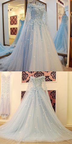 Long Sleeves Light Sky Blue Tulle Prom Dress with Beading Appliques ice blue prom dresses, off the shoulder prom dresses, women's prom dresses Modest Prom Gowns, Prom Dresses Blue, Nice Dresses, Formal Dresses, Formal Prom, Formal Wear, Light Blue Quinceanera Dresses, Disney Prom Dresses, Cinderella Dresses