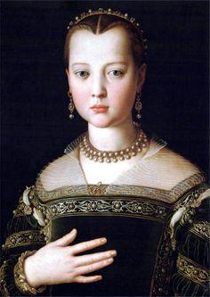 Maria (di Cosimo I) de'Medici, 1551, artist Agnolo di Cosimo (Bronzino 1503-1572), Uffizi Gallery http://www.uffizi.com/