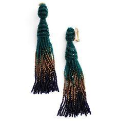 Women's Oscar De La Renta Ombre Long Tassel Clip Earrings ($395) ❤ liked on Polyvore featuring jewelry, earrings, emerald multi, beaded tassel earrings, clip earrings, clip on earrings, tassle earrings and emerald earrings
