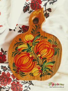 Деревянная разделочная доска из бука яблочко Тыковки Петриковская роспись