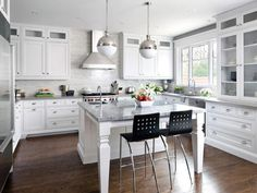 I love the white Granite island top and these   Grey Quartz countertops are a must!!!