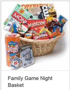 Family Game night basket - I would love to actually just leave this out as a decoration, but of course still use the games!