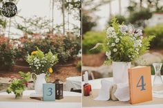 Shabby Chic #Wedding #Reception table numbers; credit: Bloomin' Bouquets