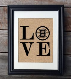 Boston Bruins Burlap Print Hockey Sign Rustic Wall by MilsoMade