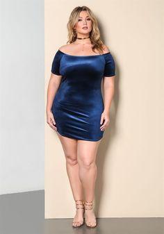 Plus Size Clothing | Plus Size Velvet Ribbed Knit Off Shoulder Dress | www.DEBSHOPS.com #plussize #debshops