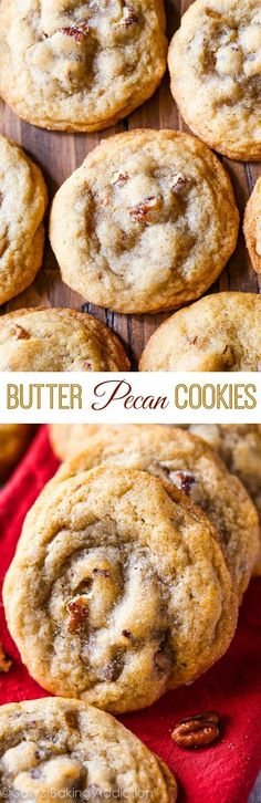Butter Pecan Cookies-- soft centers crisp edges toasted pecans and full of buttery brown sugar flavor! Butter Pecan Cookies-- soft centers crisp edges toasted pecans and full of buttery brown sugar flavor! 13 Desserts, Cookie Desserts, Delicious Desserts, Dessert Recipes, Yummy Food, Salad Recipes, Dinner Recipes, Baking Cookies, Health Desserts