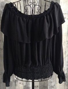 Michael Kors 100% Silk Peasant Top Blouse Boho Festival Ruffled Black Size Small #MichaelKors #Top