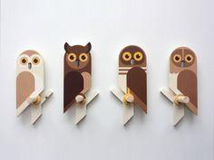 Owlets, wooden wall hooks by Guus van Zeeland, wall hook for kids, kids peg rack, kids coat rack Wooden Projects, Wooden Crafts, Diy And Crafts, Craft Projects, Arts And Crafts, Wooden Wall Hooks, Wooden Walls, Bois Diy, Wood Animal