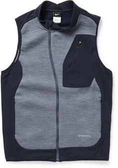 Nike x Undercover Gyakusou Stretch-Jersey Gilet, Nike x Undercover have collaborated on a collection aimed at modern runners. This gilet is crafted from stretch-jersey for ease of movement, and coated with a water-repellent finish to protect you from the elements.