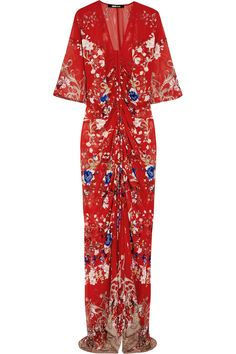 Roberto Cavalli Floral-print silk-chiffon gown NET-A-PORTER.COM