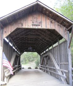 Old covered bridge at Lake Creek, Oregon.