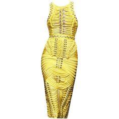 Balmain F/W 2014 by SakuraGirl ❤ liked on Polyvore featuring dresses, short dresses, balmain, vestidos, gowns, yellow mini dress, balmain dress and mini dress