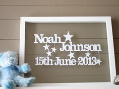 What better way to celebrate the birth of a baby than with a beautiful bespoke papercut capturing the details of their entrance into this world.  We will need to know your baby's name and date of birth,   This piece is cut from a single piece of A4 cardstock in white, black or baby blue.  If purchased UNFRAMED it looks wonderful placed on your own backing coloured cardstock and framed in an A4 frame (Ikea Ribba frames are great).  If purchased FRAMED it will look gorgeous in the floatin…