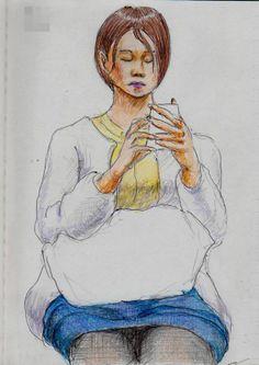 白いカーディガンのお姉さん It is a sketch of a woman wearing a white cardigan.  I drew on the train going to work.