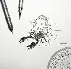 dessins de tatouage 2019 More Geometric Beasts - Tattoo Designs Photo Escorpion Tattoo, Body Art Tattoos, Tatoos, Circle Tattoos, Shape Tattoo, Geometric Drawing, Geometric Art, Geometric Sleeve, Geometric Tattoos
