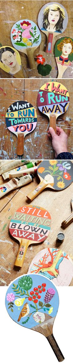 sandra eterovic - paintings on vintage ping pong paddles