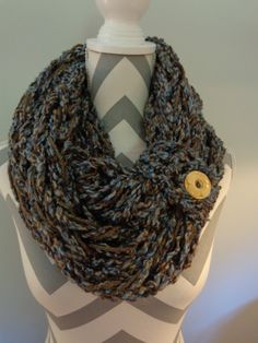 Arm Knitted Infinity Scarf/Cowl with Cuff & Coconut Button by IdleHandsCrochetKnit on Etsy
