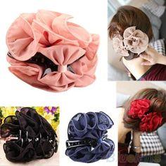 Korean  Beauty Chiffon Rose Flower Bow Jaw Clip Women Barrette Hair Claw Claws 00HW