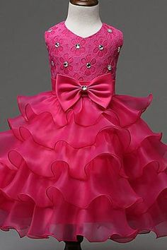 Princess hot pink organza bowknot girls dress with straps - occasion dresses by Sweetheartgirls