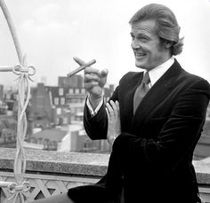 "Roger Moore at the Dorchester Hotel in London on August 1st, 1972, shortly after the announcement was made that he will take over the role as James Bond, starting with ""Live and Let Die."""