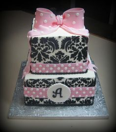 pink bow baby shower cake | Pink Bow & Damask
