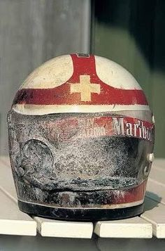 Clay Regazzoni's helmet after his firery crash at Kyalami in 1973 when Mike Hailwood saved his life