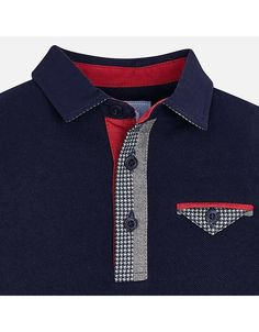 Polo, L/S, Houndstooth Trim, Navy, - Hollyhocks Childrens Boutique Mens Polo T Shirts, Polo Tees, Boys T Shirts, Golf Shirts, Camisa Polo, T Shirt Lacoste, Terno Casual, Slim Fit Casual Shirts, African Men Fashion
