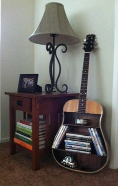 Cool idea, but Please only use a completely trashed no repair possible guitar for your bookcase project. Donate that functioning car to a school.