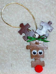 puzzel piece christmas ornaments   Reindeer Puzzle Piece Christmas Ornament