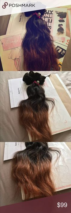 """handmade clip in 20"""" 100% Human Hair extension's Hello you will receive same item as seen in photos 10 Tracks handmade clip in 20"""" when pulled straight from top too tip of hair. Rozay Brazilian 100% Human Hair extension's 3.9oz handmade. 100% Real Human Hair  Cuticles  Can be Dyed Double Sewed Weave first bid wins  You can do anything with Rozay human hair extensions that you can do to your natural hair. This includes dyeing, cutting, heat styling. #6 Rozay Accessories"""