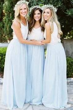 Bridesmaid Gowns Clara Bridesmaid Separate in Love Is in The Air Chiffon - Chiffon Skirt in Bridesmaid Separates. Clara Chiffon skirt with pockets! Bridesmaid Separates, Bridesmaid Dress Colors, Long Bridesmaid Dresses, Prom Dresses, Bridal Separates, Summer Dresses, Wedding Bridesmaids, Long Dresses, Formal Dresses