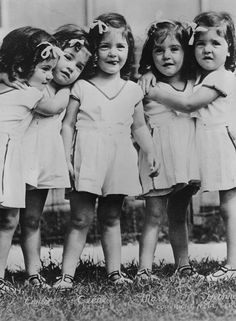 The Dionne Sisters (Quintuplets) Vintage Children Photos, Vintage Pictures, Old Pictures, Vintage Images, Old Photos, Antique Photos, Vintage Photographs, Black N White Images, Black And White