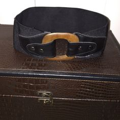Black Belt with wooden buckle This is a size S/M waist belt in black with a wooden belt Accessories Belts