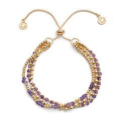 'Delia' Amethyst  Three Strand Clasp Bracelet | Discover Azuni www.azuni.co.uk