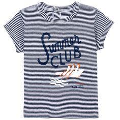 Tee-shirt en jersey de coton rayé - Bleu marine Petit Bateau