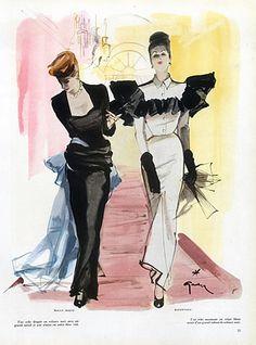 Cristóbal Balenciaga 1945 René Gruau, Maggy Rouff, Evening Gown
