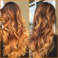 Fire ombré. Brunette/red/blonde hair.